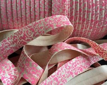 "5/8"" Fold Over Elastic Cream with Pink Damask Print - FOE - Elastic by the Yard - DIY - Baby Headbands - Hair ti"