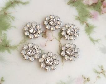 White Opal / Crystal Swarovski crystal flower matte silver (x6)