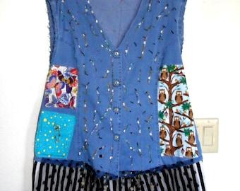 Recycled denim  tunic dress top One big pocket