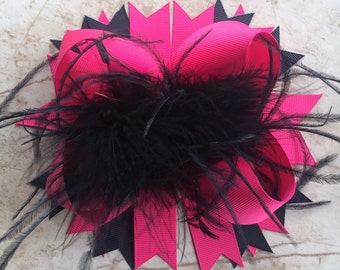 Pink and Black Feather Bow, Boutique Bow, Big Bow, Stacked Bow, Dark Pink Bow, Over the Top, OTT Bow, Baby Bow, Toddler Bow, Ostrich Puff