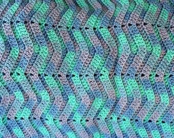 Blue Wave Afghan