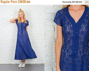 LABOR DAY SALE Vintage 90s Dark Blue Floral Lace Grunge Dress Sheer Small S 5092