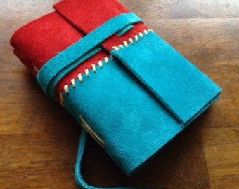 Red & Turquoise Suede Journal - Sm