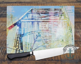 Glass Cutting Board - Sagamore Bridge Cape Cod | Blue Vacation Beach House Decor | Small or Large Kitchen Art for Your Countertop