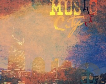 Music City Tennessee | Nashville Tennessee City Skyline Decor | Product Options and Pricing via Dropdown Menu