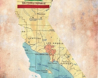 California South Central Map Flag Transportation Choose Fine Art Print Product Options and Pricing via Dropdown Menu