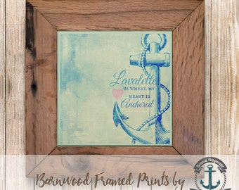 Lavallette Heart is Anchored - Framed in Reclaimed Barnwood Beach House Decor - Handmade Ready to Hang | Size and Price via Dropdown