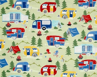 Campers On Green from Timeless Treasure's Great Outdoors Collection