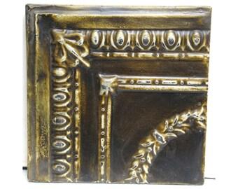 Mustard brown tin panel
