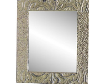 Olive green mixed tin mirror