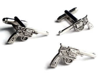 SALE Silver Shotgun Wedding Pistol Cufflinks & Tie Tack, Men's Handcrafted Handgun Gun Star Handle Revolver Cuff Links Set Guys Gift
