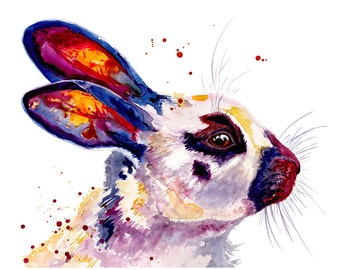8x10 Bunny Rabbit Watercolor Painting Fine Art Print Watercolor Rabbit Print Bunny Print Rabbit Painting Bunny Painting Rabbit Art