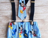 Mickey Mouse Birthday cake smash outfit clubhouse suspenders baby blue diaper cover bow tie optional Hat photo prop 9 12 18 24 toddler SALE