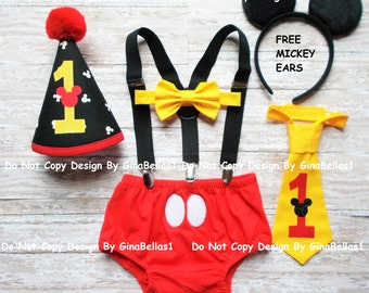 Mickey Mouse Birthday outfit cake smash costume suspenders baby FREE EARS diaper cover bowtie or I am one tie hat 6 9  12 18 24 toddler