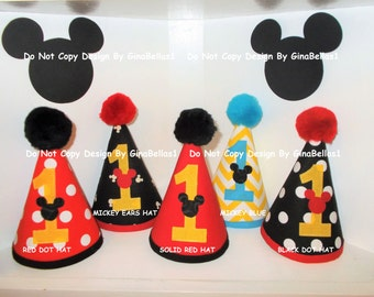 Minnie Mouse Birthday Mickey Mouse HAT outfit cake smash baby girl boy POM POM hat twins brother sister 12 18 24 m toddler