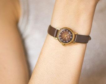 Dark brown women's watch Dawn, gold plated lady watch, classy women's watch vintage, Soviet fashionista watch tiny,premium leather strap new