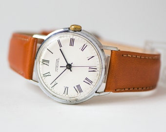 Soviet stilyaga watch, men's wrist watch minimalist Rocket, gent's watch round, shockproof waterproof men watch, premium leather strap new