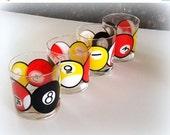 4-Day SALE Vintage POOL BALL Glasses - Vintage Cocktail Glasses - Bar Ware