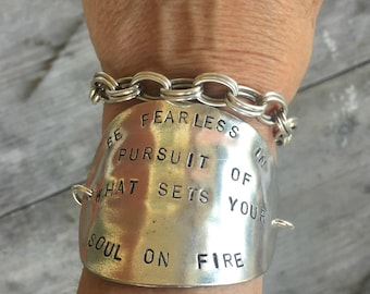 Stamped Spoon Bracelet - Upcycled Spoon -Be Fearless in Pursuit of What Sets Your Soul of Fire - Orange Yellow Glass Bead (02783-LV)