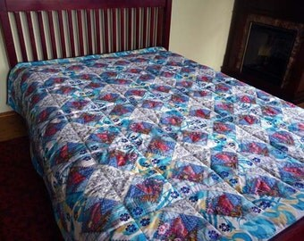 "Queen size quilt ""Frozen""- unique gift - wedding gift - anniversary - vintage style -  free shipping -  OOAK - patchwork quilt - embroidery"