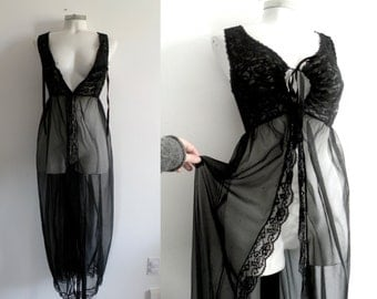 70s  Sheer Black Lace Night Gown Coat - L