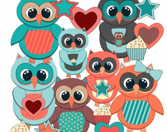 Whimsical Owls Digital Scrapbooking elements INSTANT DOWNLOAD Printable Images Vectors Birds Teal Cute Heart Star Cupcake VG-001