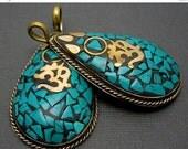 15% Valentines Day OM Tibetan Teardrop Pendant-  Brass with Turquoise Mosaic Teardrop Pendant (S37B16)