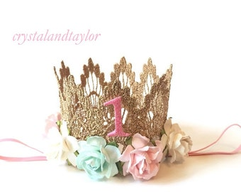 Mint, Light Pink and Ivory Lace Gold Crown, Baby Girl Crown, Birthday Lace Crown, Gold Crown, Birthday Crown, Baby Crown, Gold Girl Crown