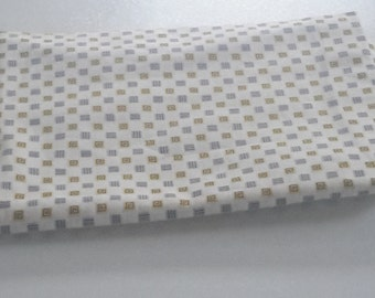 Vintage 40s/50s White W/ Yellow & Gray Geometric Cotton Fabric 36x43""