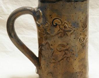 ceramic floral coffee mug 16oz  stoneware 16A055