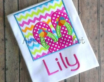 Girl's Flip Flop Box Applique Shirt - Summer Applique Design - Girl's shirt - Monogram Summertime Shirt