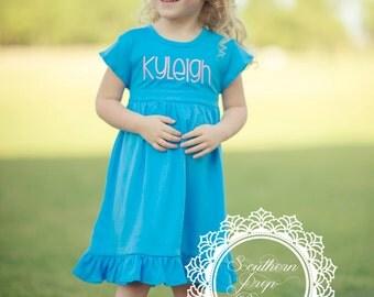 Girl's Custom Monogram Dress - Blue - Girl's Summer outfit - Monogrammed - Birthday gift - Summer Dress