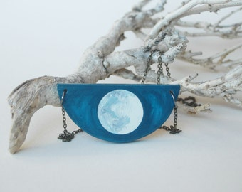 Full moon necklace moon pendant space galaxy necklace la luna planet necklace solar system