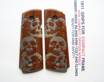Compact / Officer 1911  / Cocobolo / Gold-Silver Skulls