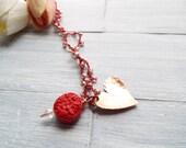 Crochet Beaded Necklace - Free Spirit Jewelry - Long Bohemian Necklace - Bohemian Jewelry - Gypsy Necklace - Heart Necklace