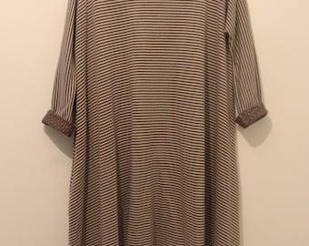 Oversizebrown stripes asymmetrical tunic - oversize stripe top - plus size winter tunic