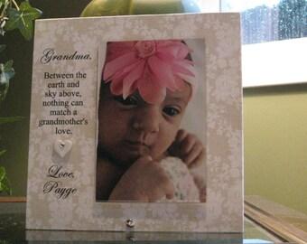 Grandma, (SELECT ANY GRANDMOTHER Name), Vertical Frame, 4 x 6 photo, ceramic heart with Swarovski crystal