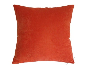 "Orange Velvet Decorative Throw Pillow Cover / Pillow Case / Cushion Cover / 18x18"" Square"