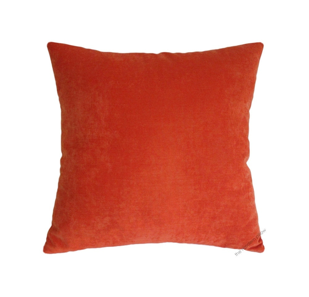 Throw Pillows Velvet : Orange Velvet Decorative Throw Pillow Cover / Pillow Case