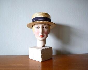 1920s straw hat . vintage 20s mens boater hat