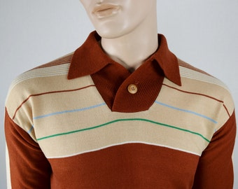 Vintage 1970's Men's STriPeD CoLoR BLoCkeD DiScO HiPPiE HiPsTeR KeLsO Knit Sweater M