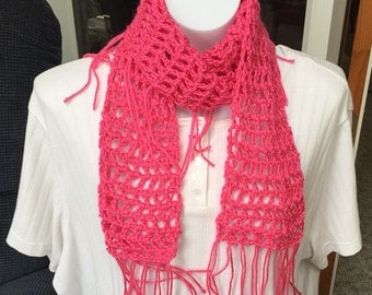 Lacy Neck Scarf Hot Pink with Fringe A110