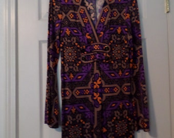 Psycedelic Dress V Neck bell Sleeves Print Bold Empire Soft Silky long Sleeve Medium
