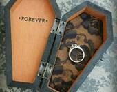 FOREVER Halloween Coffin Engagement Box  Wedding Ring Bearer Coffin monogrammed pillow alternative ring box