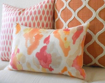 Coral, Orange abstract watercolor decorative pillow cover