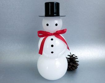 Iittala Crystal Snowman - Art Glass Decanter Carafe Bottle made in Finland - Modern Minimalist Decor - Christmas Decoration
