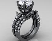 Classic French 14K Grey Gold 3.0 Ct White Cubic Zirconia Three Piece Bridal Ring Set R401SS-14KGGCZ