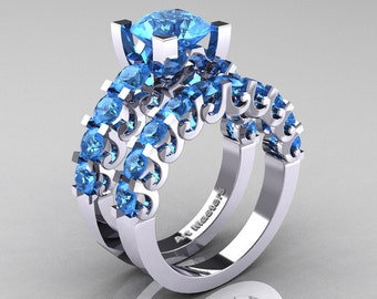 Modern Vintage 14K White Gold 3.0 Ct Blue Topaz Designer Wedding Ring Bridal Set R142S-14KWGBT