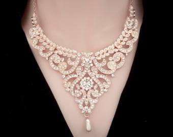 Rose gold bib necklace,Rose gold crystal necklace, Rose gold pearl necklace, Rose gold wedding necklace, Rose gold Statement necklace,MIA