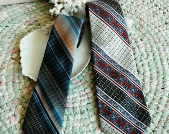 Vintage Dark Necktie Set of Two Ties -  Fathers Day, Gift for Dad, OOAK Gifts, Striped Pattern, Blue + Yellow, Patriotic Necktie Accessory